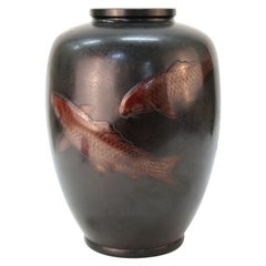 Japanese Art Deco Bronze Vase with Carp Motif