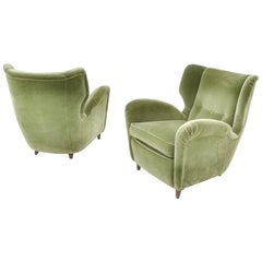 Pair of High-Quality Olive Green Velvet Armchairs, Italy, 1950s
