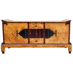 Swedish Art Deco Sizeboard in Golden Flame Birch/Rosewood with Bakelite Handles