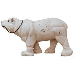 Early 20th Century Folk Art Carved Wood Polar Bear