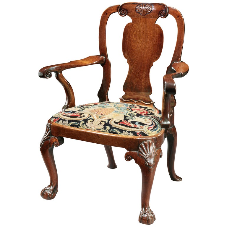 18th Century George II Mahogany Armchair with Needlework