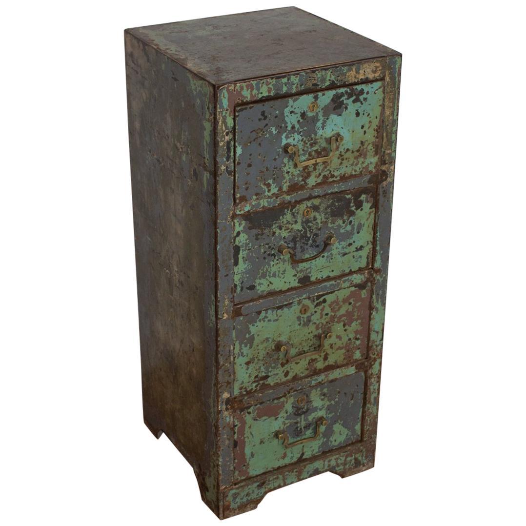 lovely Vintage Metal Filing Cabinet For Sale Part - 8: Vintage English Metal Filing Cabinet For Sale