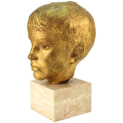 Tony Greenwood Modern Gilt Bronze Bust of a Young Boy