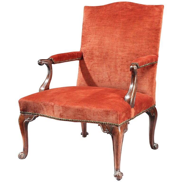 18th Century George III Mahogany Library Chair