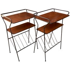 Pair of End Tables with Magazine Racks on Black Wire Legs
