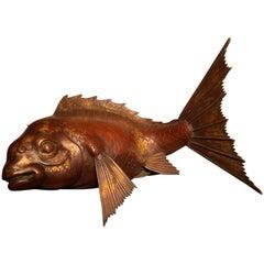 Japanese Huge Antique  Bronze Koi Trophy Fish -Gold Gilt, Good Fortune