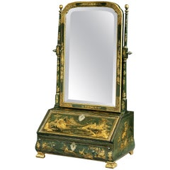 18th Century George I Green and Gilt Japanned Dressing Mirror