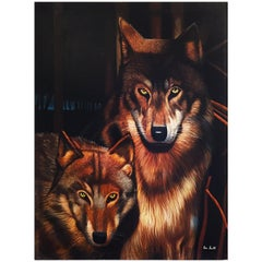Wolves Painting by Eric Scott, Oil on Canvas