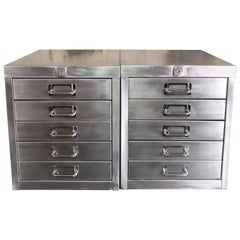 Pair of Vintage Industrial Stripped Metal 5-Drawer Filing Cabinets