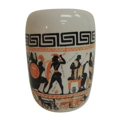 Vintage Round Etruscan Greek Hand Painted Ceramic Vase