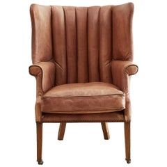 English Georgian Style Leather Wingback Porters Chair