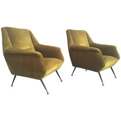 Lovely Pair of Italian Armchairs, 1950s