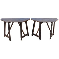 Italian Turn of the Century Walnut Half or Demilune Tables