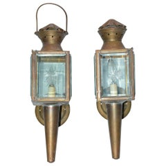 Pair of Antique Star Pattern Cut Glass Carriage Light Wall Sconces