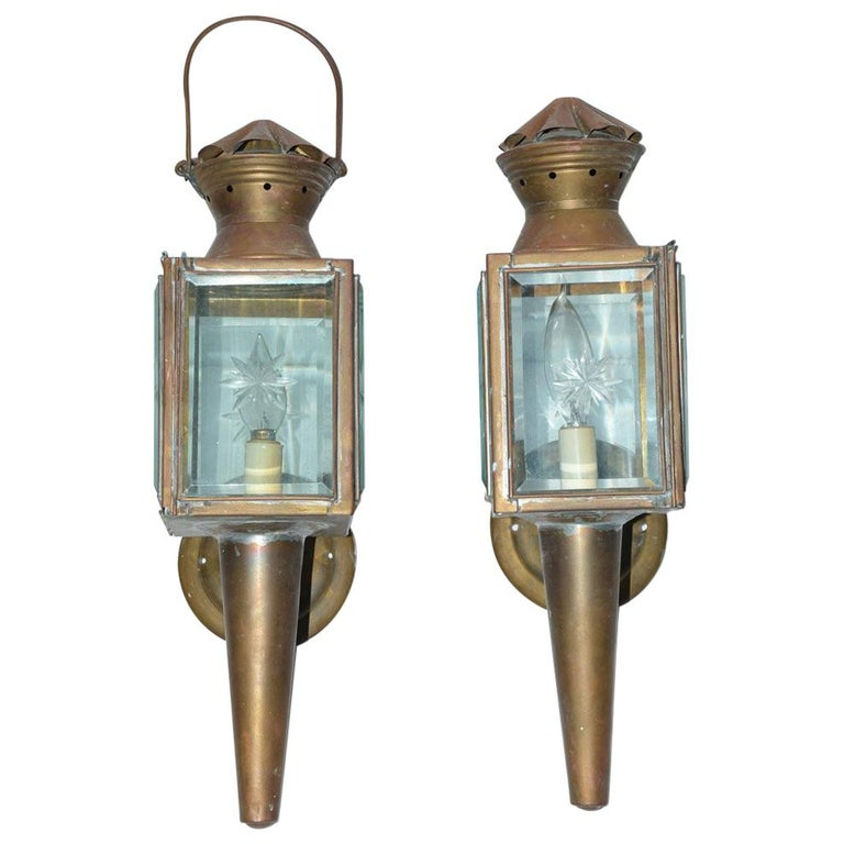 Pair of Antique Star Pattern Cut Glass Carriage Light Wall Sconces For Sale