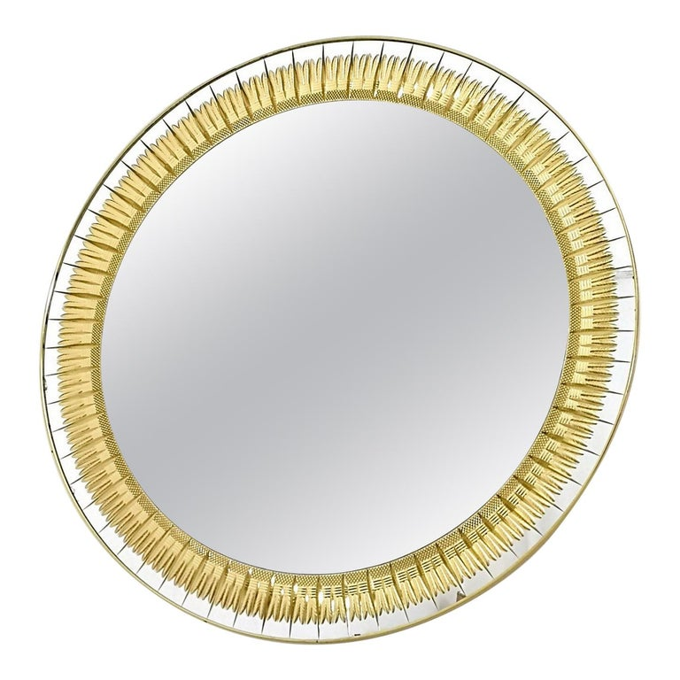 Large Round Wall Mirror by Cristal Art with Gold Engraving, Italy, 1960s For Sale