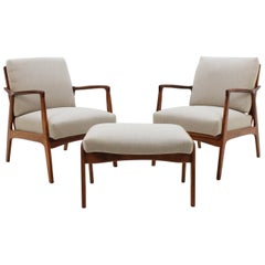 1960 Set of Two Danish Beech Armchairs and Stool