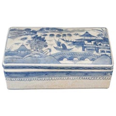 Chinese Canton Blue and White Porcelain Box