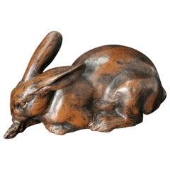 Japan Huge Bronze Rabbit Usagi with Big Ears, Fine Details