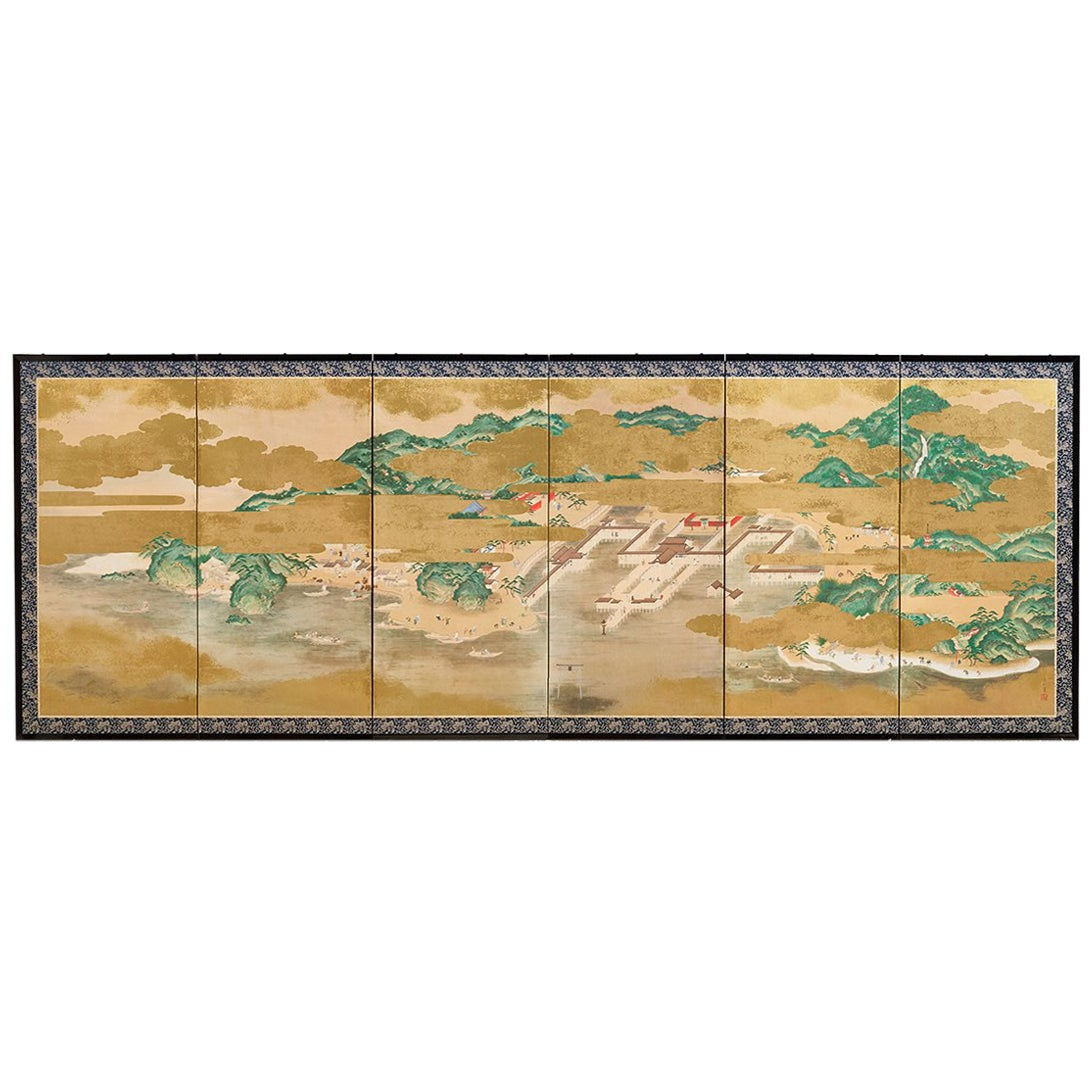 Japanese Six Panel Kano School Style Screen