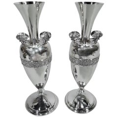 Pair of Early Tiffany Sterling Silver Greek Amphora Butterfly Vases
