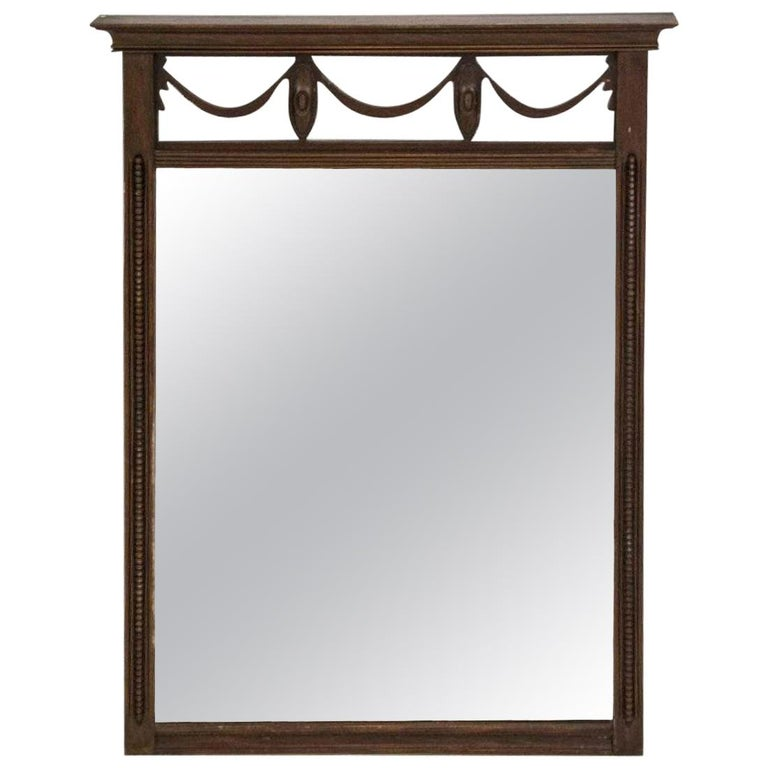 Neoclassical Style Mahogany Vintage Wall Mirror For Sale