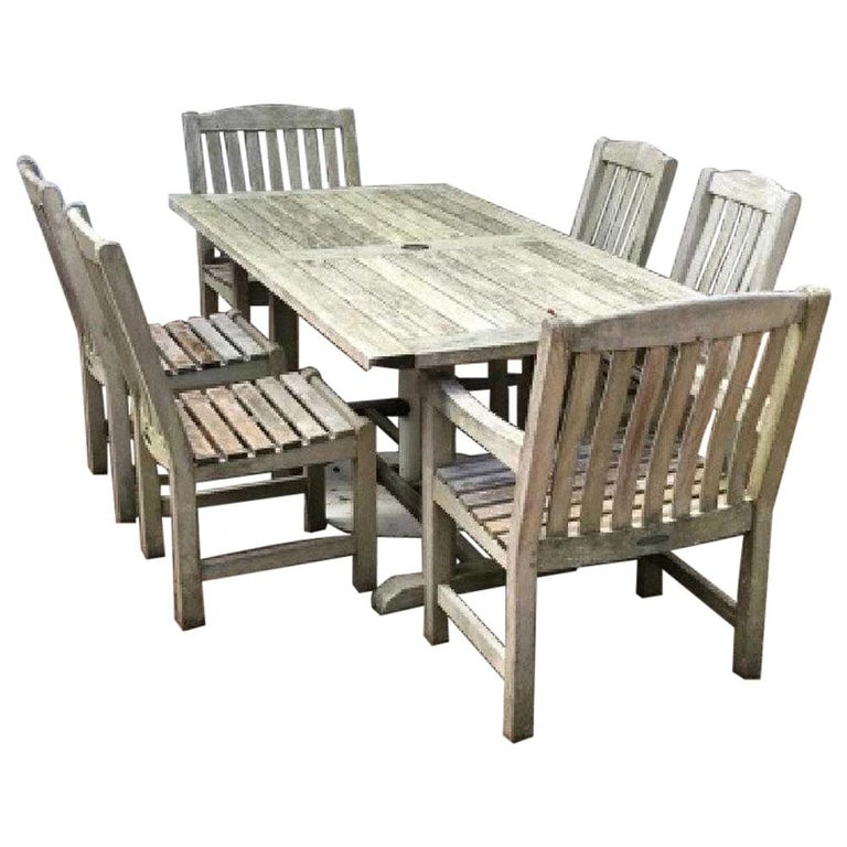 Vintage Outdoor Garden Teak Dining Table and Chairs Set For Sale