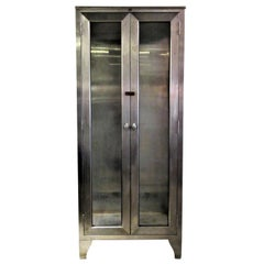 1940's American Stainless Steel Industrial Medical Cabinet