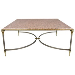 Large Square Pink Marble Top Steel & Brass Coffee Table Maison Jansen Attributed