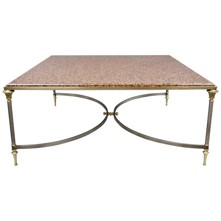 Large Square Pink Marble Top Steel Br Coffee Table Maison Jansen Attributed For