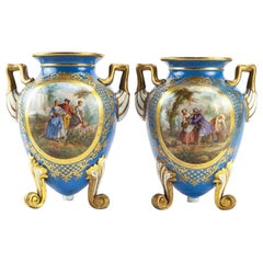 Pair of French Sèvres Style Porcelain Vases, 19th Century