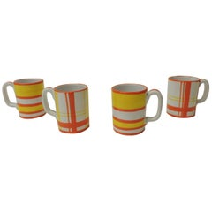 Vintage Set of (4) Italian Orange and White Ceramic Mugs