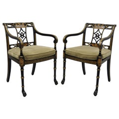 20th Century Black and Gold English Regency Style Greek Key Paw Foot Armchairs