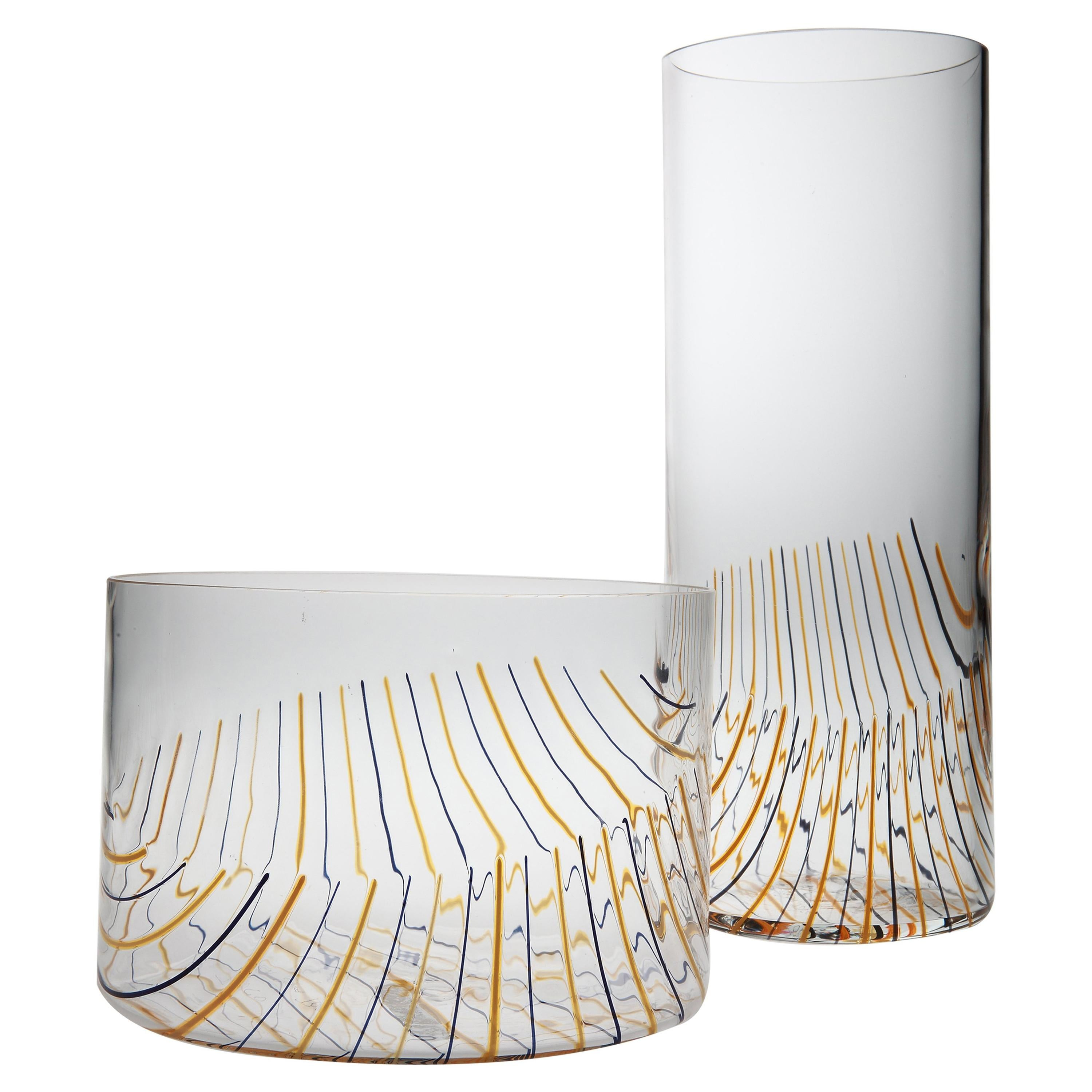 Set of Glass Vase and Glass Bowl by Fratelli Toso