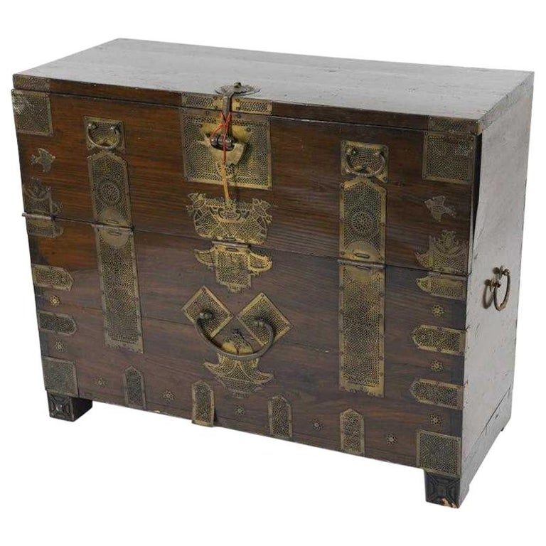 Antique Korean Tansu Elm Wood Chest with Brass Trim For Sale