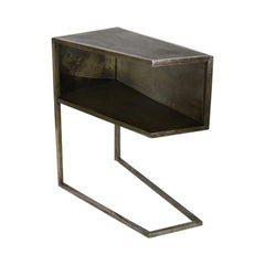 Kleintier Modern Industrial Copper-Plated Steel and Silvered Mirror Nightstand