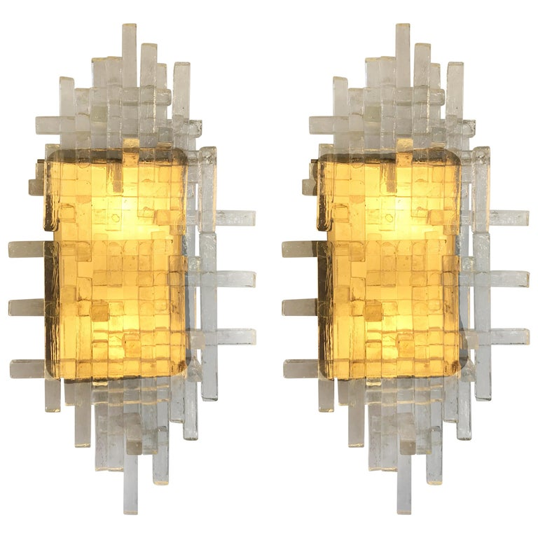 Pair of Glass Metal Sconces by Poliarte. Italy, 1970s