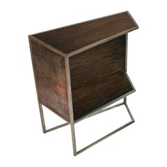 Grosstier Modern Industrial Silver and Copper Plated Steel Framed Wood Cabinet