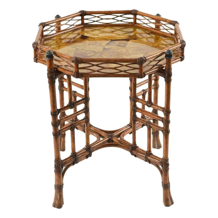 20th Century Octagon Faux Bamboo End or Side Table For Sale