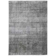 Gray Vintage Persian Distressed Rug with Modern Design in Hazy Aesthetic