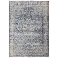 Distressed Modern Design Rug with Faded Colors from 1950s Persia