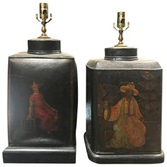 Assembled Pair of 19th Century, circa 1820s English Tea Tin Lamps