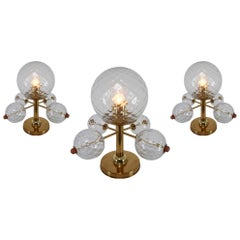 Midcentury Table Lamps with Brass Fixture and Structured Glass, Europe, 1970s