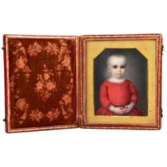 19th Century Miniature Portrait Painting of Child Attributed to Moses B. Russell