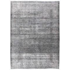 Gray, Charcoal Vintage Persian Distressed Rug with Modern and Rustic Design