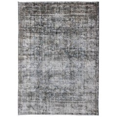 Modern Distressed Persian Rug with Medallion Design in Charcoal and Gray