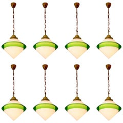 Midcentury Conical Opaline Pendants with Green Glass Edge, Europe, 1960s