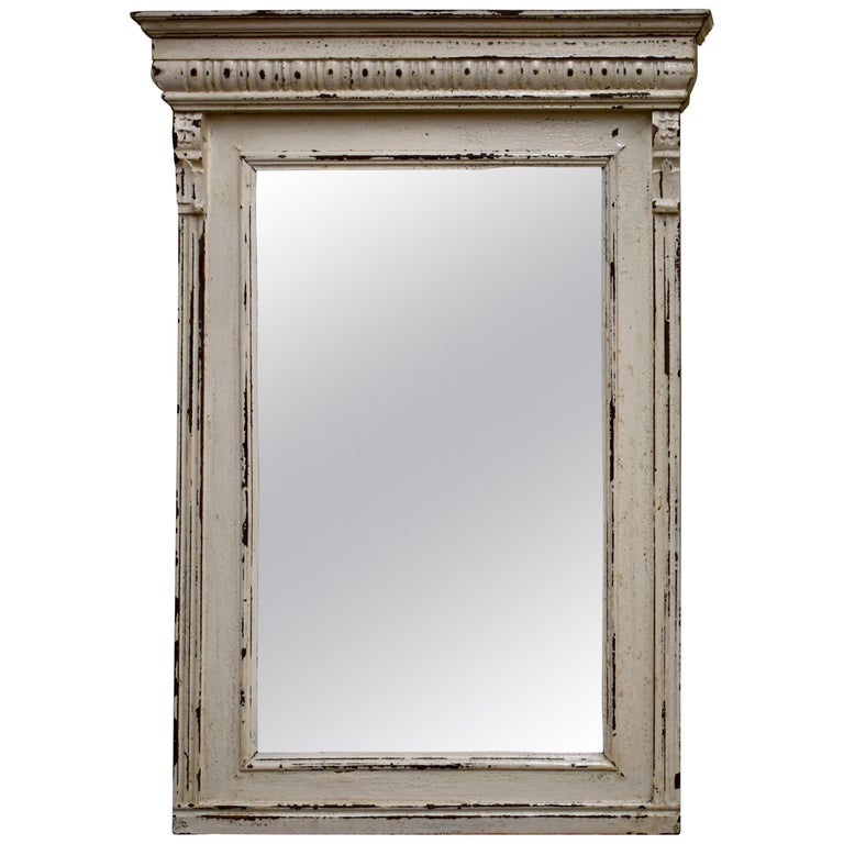 Painted Pine and Oak-Framed Mirror For Sale at 1stdibs