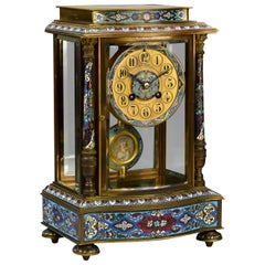 19th Century Le Roy French Champleve Mantel Clock Miniature Painting Pendulum