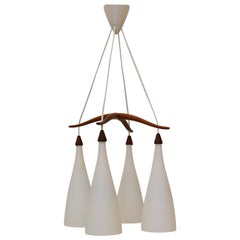 Opaline and Teak Chandelier by Uno and Östen Kristiansson for Luxus